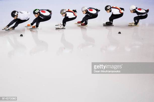 Anna Seidel and Bianca Walter of Germany train with the Japan team at the short track training session ahead of the PyeongChang 2018 Winter Olympic...