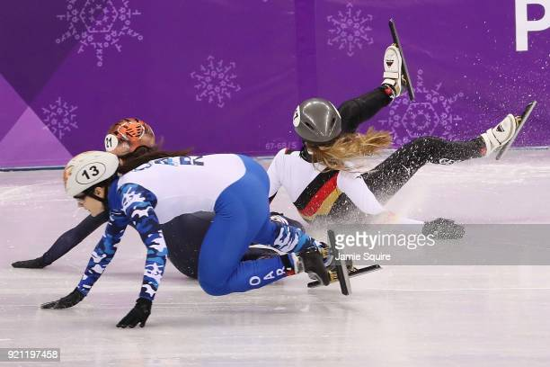 Anna Seidel of Germany crashes out during the Ladies Short Track Speed Skating 1000m Heats on day eleven of the PyeongChang 2018 Winter Olympic Games...