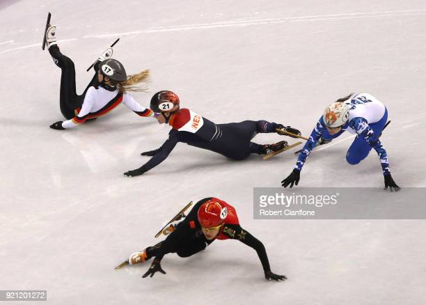 Anna Seidel of Germany Yara van Kerkhof of the Netherlands and Sofia Prosvirnova of Olympic Athlete from Russia crash during heat 6 during the Short...