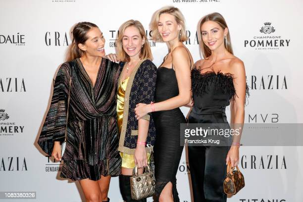 Anna Sharypova Sonia Lyson Mandy Bork and AnnKathrin Goetze during the Grazia Style Cocktail at Titanic Hotel on January 16 2019 in Berlin Germany
