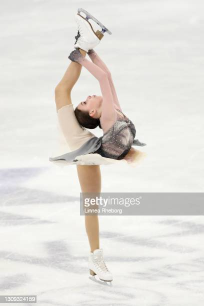 Anna Shcherbakova of Figure Skating Federation of Russia performs in Ladies Free Skating during day three of the ISU World Figure Skating...
