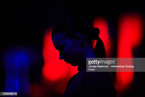 Anna Shcherbakova of FSR looks on ahead of the Gala Exhibition during day five of the ISU World Figure Skating Championships at Ericsson Globe on...