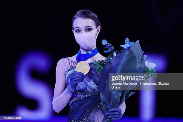 Anna Shcherbakova of FSR poses in the Ladies medal ceremony during day three of the ISU World Figure Skating Championships at Ericsson Globe on March...