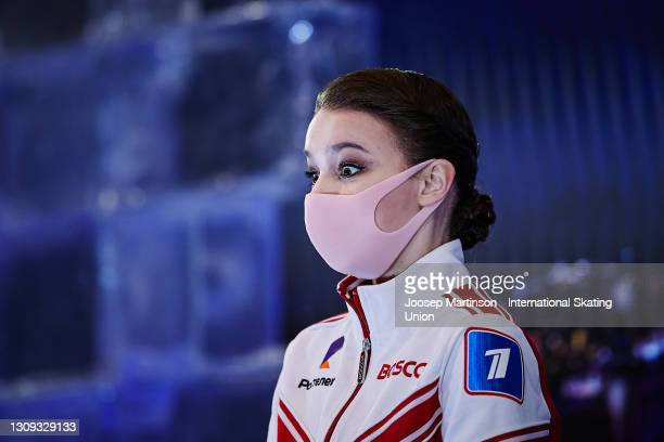 Anna Shcherbakova of FSR reacts to her winning result at the kiss and cry in the Ladies Free Skating during day three of the ISU World Figure Skating...