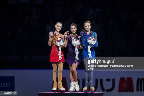 Anna Shcherbakova of Russia Alena Kostornaia of Russia and Alexandra Trusova of Russia pose in the Ladies medal ceremony during the ISU Grand Prix of...