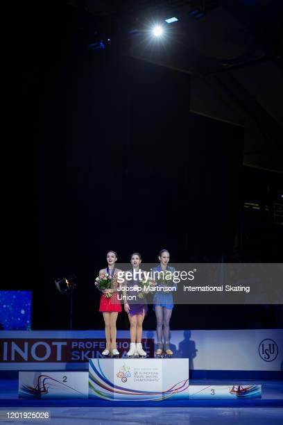 Anna Shcherbakova of Russia Alena Kostornaia of Russia and Alexandra Trusova of Russia pose in the Ladies medal ceremony during day 4 of the ISU...