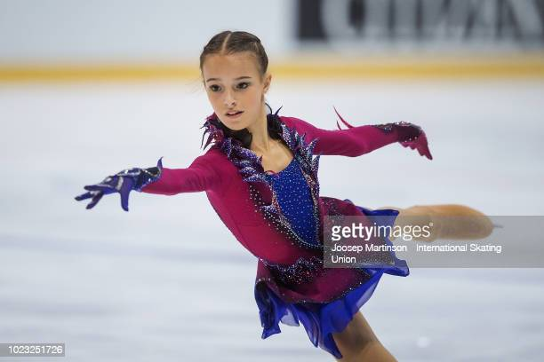 Anna Shcherbakova of Russia competes in the Junior Ladies Free Skating during the ISU Junior Grand Prix of Figure Skating at Ondrej Nepela Arena on...