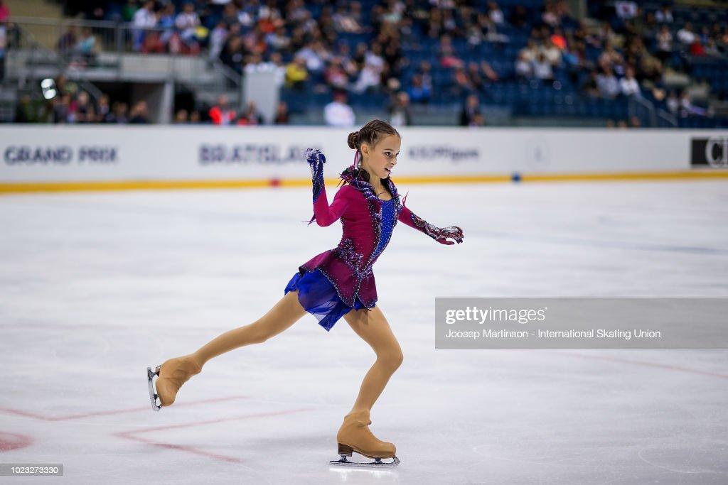 Anna Shcherbakova of Russia competes in the Junior Ladies Free Skating during the ISU Junior Grand Prix of Figure Skating at Ondrej Nepela Arena on August 25, 2018 in Bratislava, Slovakia. (Photo by Joosep Martinson - International Skating Union (ISU)/ISU via Getty Images)
