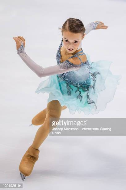 Anna Shcherbakova of Russia competes in the Junior Ladies short program during the ISU Junior Grand Prix of Figure Skating at Ondrej Nepela Arena on...