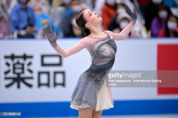 Anna Shcherbakova of Russia competes in the Ladies Single Free Skating on day three of ISU World Team Trophy at Maruzen Intec Arena Osaka on April...