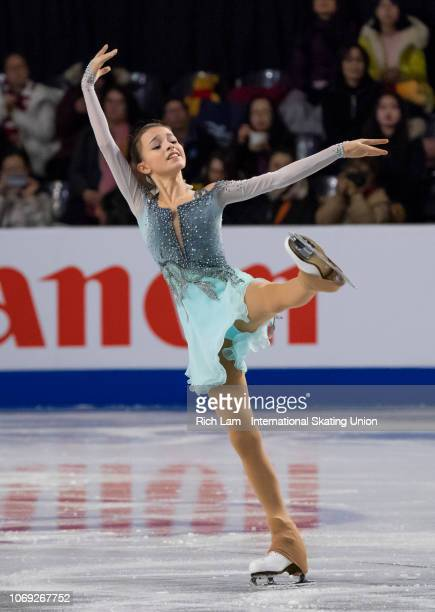 Anna Shcherbakova of Russia competes in the Short Program of the Junior Women's competition at the ISU Junior and Senior Grand Prix of Figure Skating...