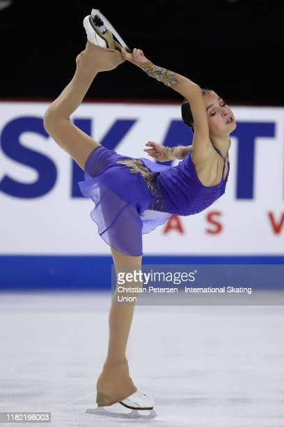 Anna Shcherbakova of Russia performs during ladies free skating in the ISU Grand Prix of Figure Skating Skate America at the Orleans Arena on October...