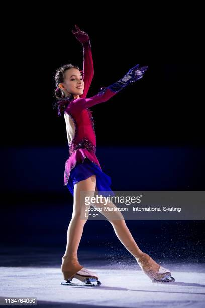 Anna Shcherbakova of Russia poses in the Junior Ladies medal ceremony during day 4 of the ISU World Junior Figure Skating Championships Zagreb at Dom...