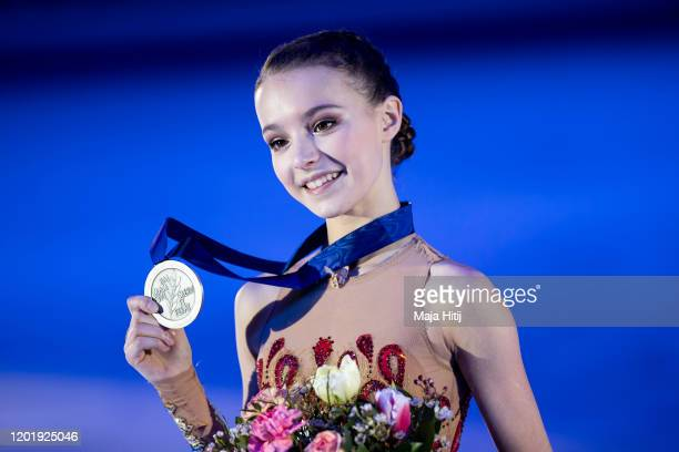 Anna Shcherbakova of Russia poses with a silver medal in the Ladies medal ceremony during day 4 of the ISU European Figure Skating Championships at...