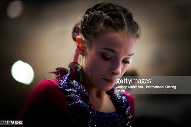 Anna Shcherbakova of Russia prepares in the Junior Ladies Free Skating during day 4 of the ISU World Junior Figure Skating Championships Zagreb at...