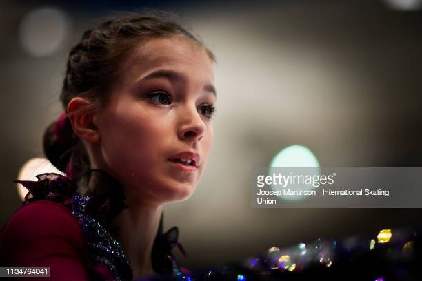 Anna Shcherbakova of Russia prepares in the Junior Ladies Free Skating during day 4 of the ISU World Junior Figure Skating Championships Zagreb at...