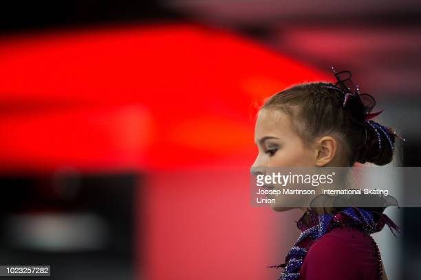 Anna Shcherbakova of Russia prepares in the Junior Ladies Free Skating during the ISU Junior Grand Prix of Figure Skating at Ondrej Nepela Arena on...