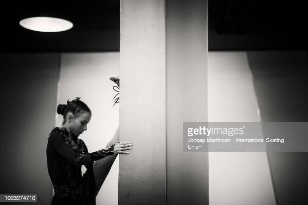 Anna Shcherbakova of Russia prepares in the Junior Ladies Free Skating during the ISU Junior Grand Prix of Figure Skating at Ondrej Nepela Arena on...