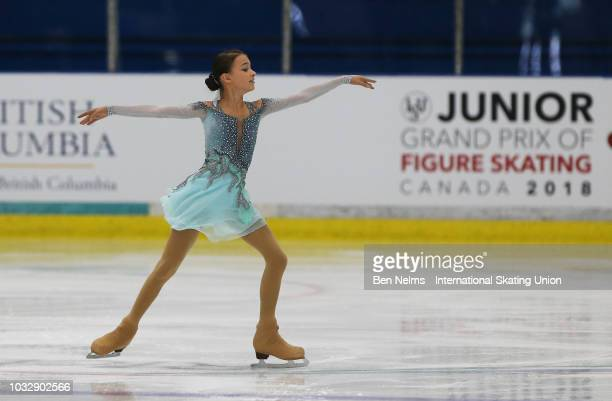 Anna Shcherbakova or Russia performs in the junior ladies short program during the 2018 Junior Grand Prix of Figure Skating on September 13 2018 in...