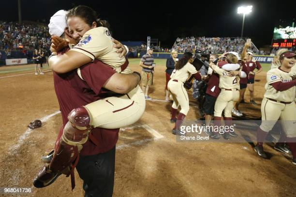 Anna Shelnutt of the Florida State Seminoles celebrates after defeating the Washington Huskies during the Division I Women's Softball Championship...