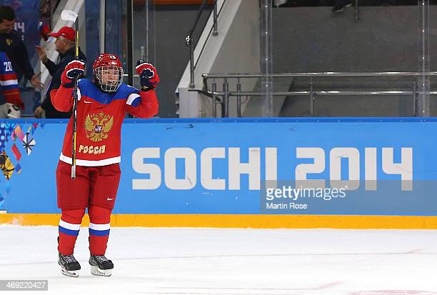 Anna Shibanova of Russia celebrates after defeating Sweden 31 during the Women's Ice Hockey Preliminary Round Group B game on day six of the Sochi...
