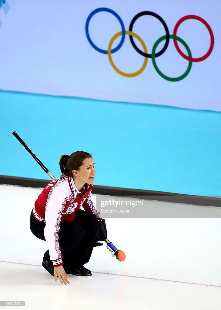 Anna Sidorova of Russia competes against Switzerland during the Women's Curling Round Robin match on day seven of the Sochi 2014 Winter Olympics at Ice Cube Curling Center on February 14, 2014 in Sochi, Russia.
