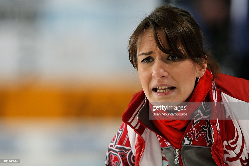 Anna Sidorova of Russia gives team mates instructions in the match between Japan and Russia on Day 5 of the Titlis Glacier Mountain World Women's Curling Championship at the Volvo Sports Centre on March 20, 2013 in Riga, Latvia.