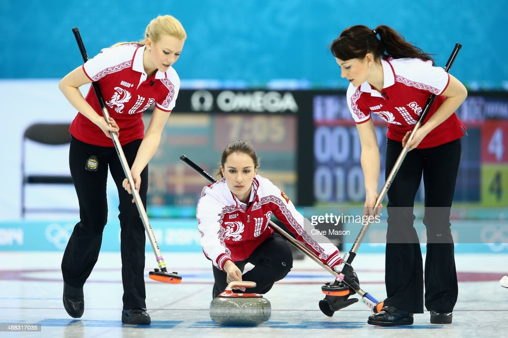 Anna Sidorova of Russia in action during the round robin match against Denmark during day 3 of the Sochi 2014 Winter Olympics at Ice Cube Curling Center on February 10, 2014 in Sochi, Russia.