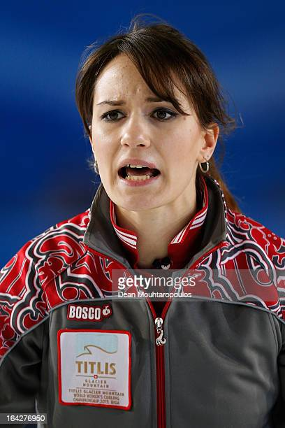 Anna Sidorova of Russia screams instructions to team mates in the match between Russia and USA on Day 6 of the Titlis Glacier Mountain World Women's...