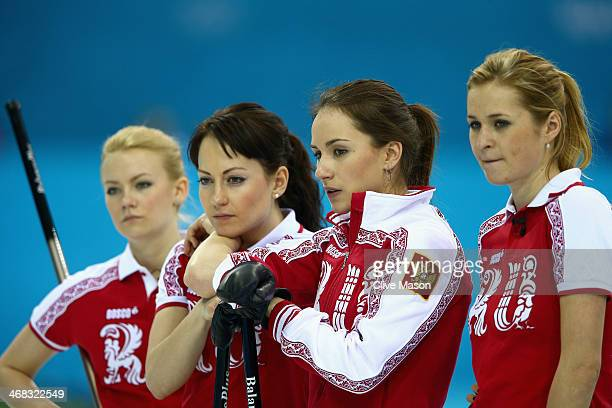 Anna Sidorova of Russia with her team during the round robin match against Denmark during day 3 of the Sochi 2014 Winter Olympics at Ice Cube Curling...