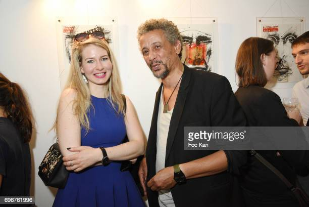 Anna Sierant and actor Abel jafri attend Olivier Megaton Exhibition Preview at Upper Concept Store Gallery on June16 2017 in Paris France