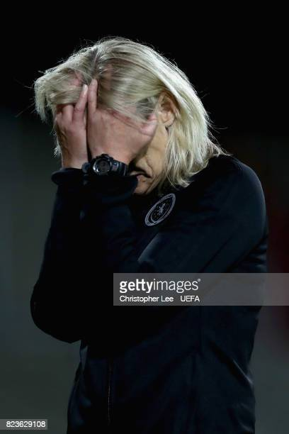 Anna Signeul head coach of Scotland is dejected after the Group D match between Scotland and Spain during the UEFA Women's Euro 2017 at Stadion De...