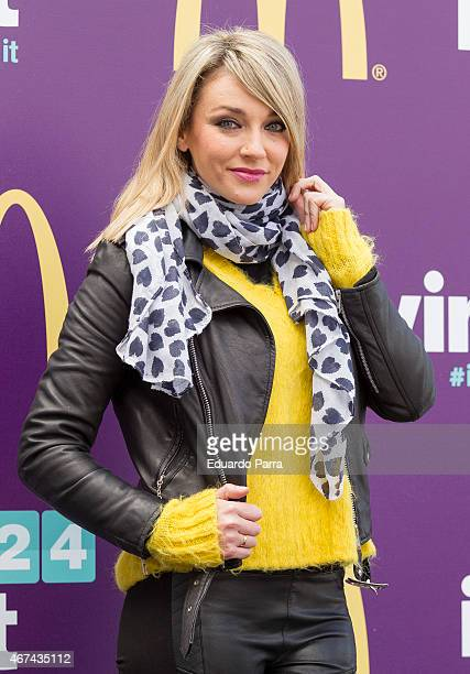 Anna Simon attends McDonalds '#Bigmoments' event photocall at Santiago Bernabeu stadium on March 24 2015 in Madrid Spain