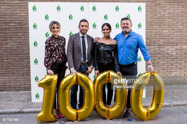 Anna Simon Frank Blanco Cristina Pedroche and Miki Nadal attend the 'Zapeando' 1000 programmes press conference at 'Atresmedia' studios on November...