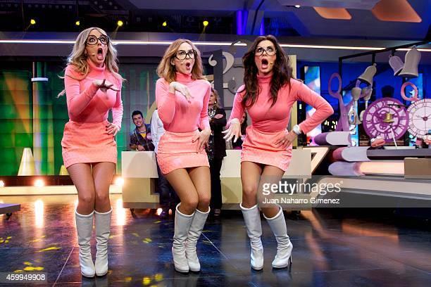 Anna Simon, Marta Hazas and Pilar Rubio attend 'El Hormiguero' Tv show at Vertice Studio on December 4, 2014 in Madrid, Spain.