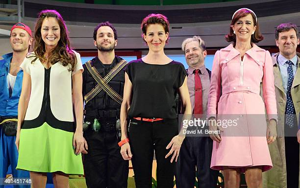 Anna Skellern Nuno Queimado Tamsin Greig Michael Matus and Haydn Gwynne bow at the curtain call during the press night performance of 'Woman On The...