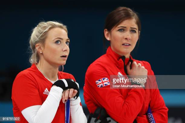 Anna Sloan and Eve Muirhead of Great Britain compete during the Women Curling round robin session 7 on day nine of the PyeongChang 2018 Winter...