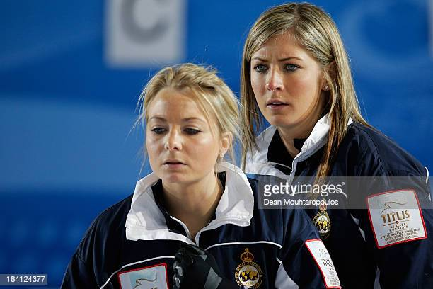Anna Sloan and Eve Muirhead of Scotland look on in the match between Scotland and Denmark on Day 5 of the Titlis Glacier Mountain World Women's...