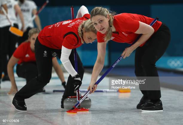 Anna Sloan and Lauren Gray of Great Britain compete during the Women's Round Robin Session 10 on day eleven of the PyeongChang 2018 Winter Olympic...