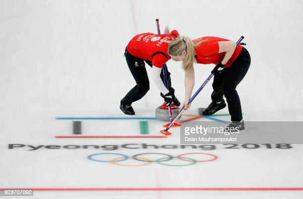 Anna Sloan and Vicki Adams of Great Britain during the Curling Womens' bronze Medal match between Great Britain and Japan on day fifteen of the...