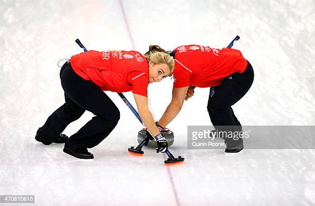 Anna Sloan and Vicki Adams of Great Britain in action during the Bronze medal match between Switzerland and Great Britain on day 13 of the Sochi 2014...