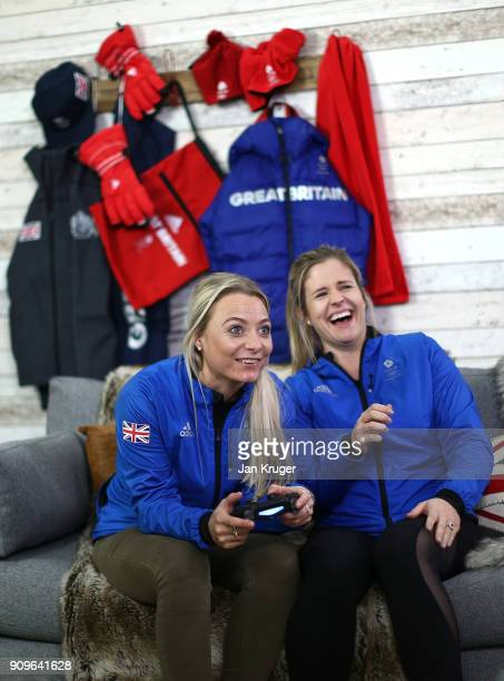 Anna Sloan and Vicki Adams share a joke during the Team GB Kitting Out Ahead Of Pyeongchang 2018 Winter Olympic Gamesast Adidas headquarters on...