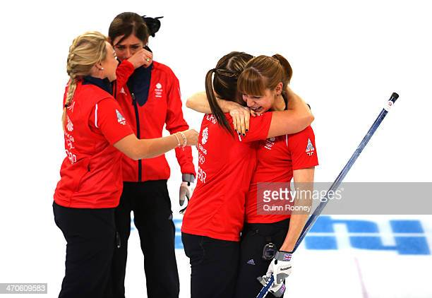 Anna Sloan Eve Muirhead Vicki Adams and Claire Hamilton of Great Britain celebrate as they win the bronze medal during the Bronze medal match between...