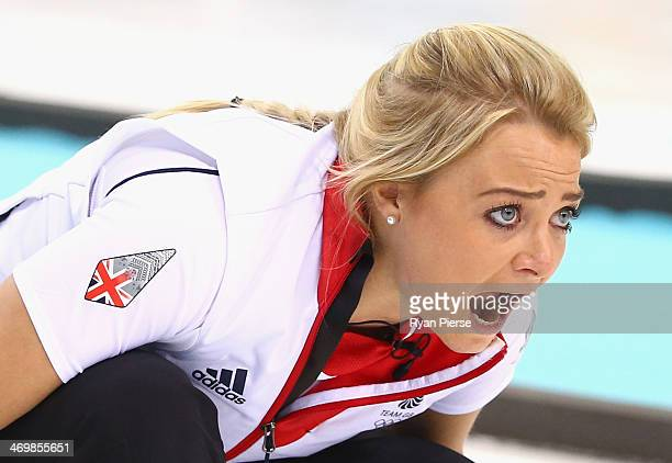 Anna Sloan of Great Britain competes during the Curling Women's Round Robin match between Russia and Great Britain on day ten of the Sochi 2014...
