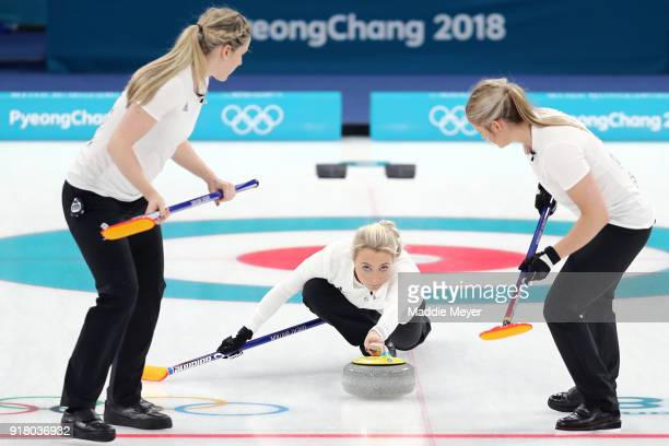 Anna Sloan of Great Britain delivers a stone against Olympic Athlete from Russia during Women's Round Robin Session 1 on day five of the PyeongChang...