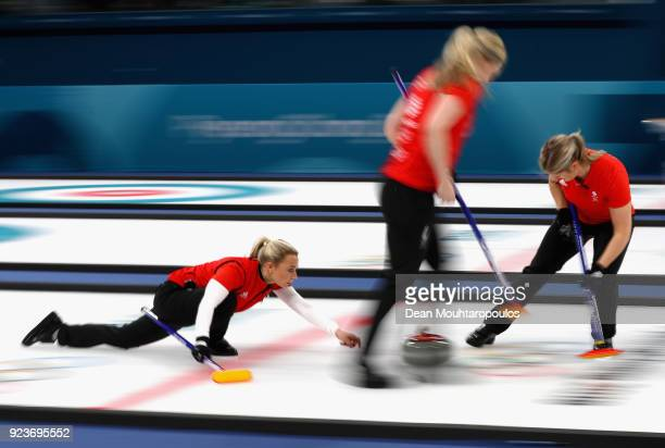 Anna Sloan of Great Britain delivers a stone during the Curling Womens' bronze Medal match between Great Britain and Japan on day fifteen of the...
