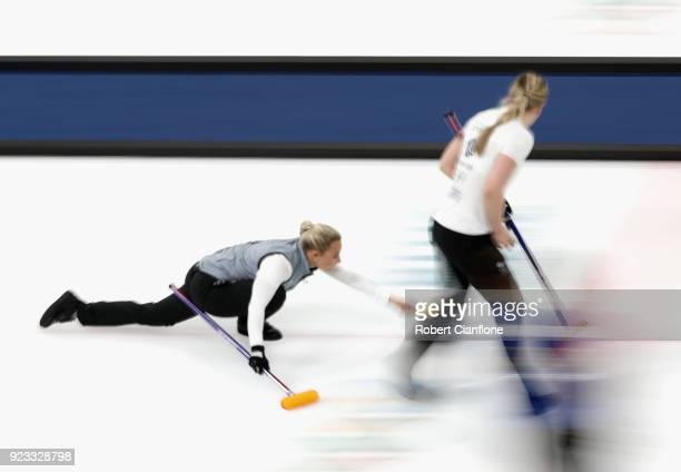 Anna Sloan of Great Britain delivers a stone during the Women's Semi Final match between Great Britain and Sweden on day fourteen of the PyeongChang...