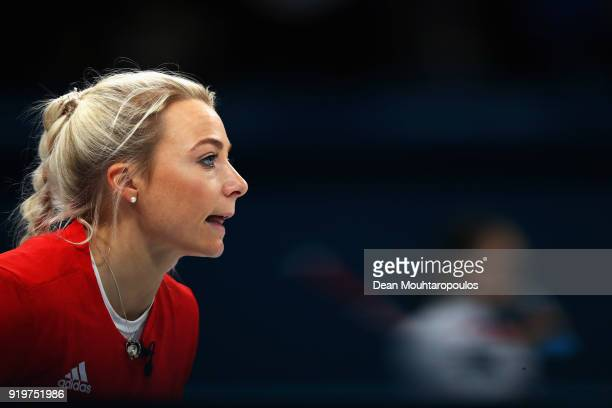 Anna Sloan of Great Britain gives her team instructions during the Women Curling round robin session 7 on day nine of the PyeongChang 2018 Winter...