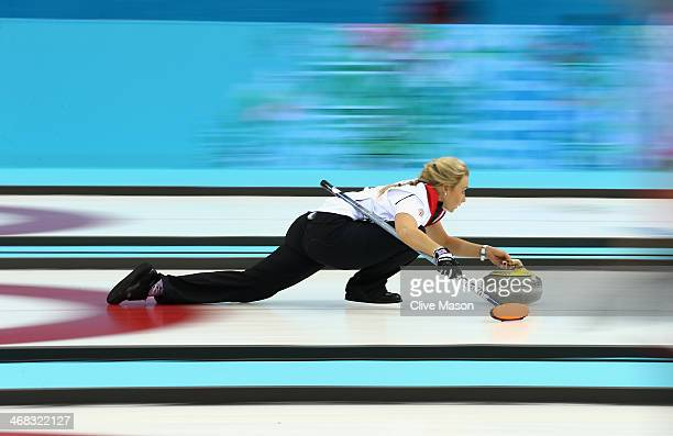 Anna Sloan of Great Britain in action during the round robin match against Sweden during day 3 of the Sochi 2014 Winter Olympics at Ice Cube Curling...