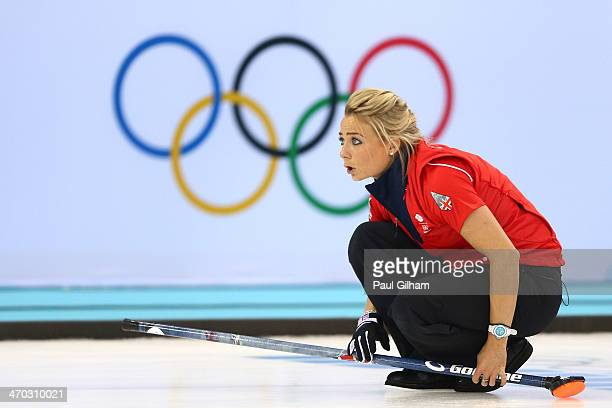Anna Sloan of Great Britain looks on after releasing the stone during the women's semifinal match between Great Britain and Canada at Ice Cube...